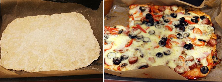 Aluat pizza - blat pizza subtire inainte si dupa coacere